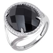 Кольцо с овальным черным агатом и фианитами, белое золото 585 проба