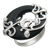 Кольцо с Агатом и фианитами, белое золото