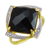 Кольцо с квадратным черным агатом и фианитами, желтое золото 585 проба