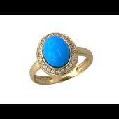 Кольцо Принцесса с бирюзой и фианитами, желтое золото 585 проба