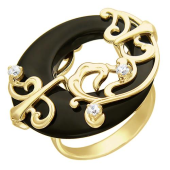 Кольцо Круг с агатом и фианитами, желтое золото