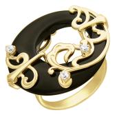 Кольцо с черным агатом овальной формы и фианитами, желтое золото, 585 проба