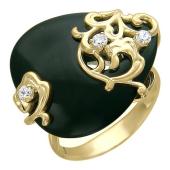 Кольцо Капля с агатом и фианитами, желтое золото