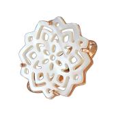 Кольцо Звезда с перламутром из серебра с позолотой