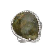 Кольцо Капля с темно-зеленым агатом и фианитами из серебра