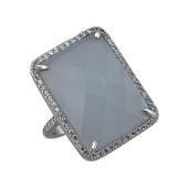 Кольцо с прямоугольным серым агатом и фианитами из серебра