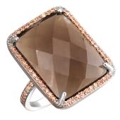 Кольцо с прямоугольным коричневым агатом и фианитами из серебра