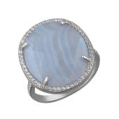 Кольцо с полосатым серым агатом и фианитами из серебра