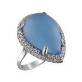 Кольцо Капля с голубым агатом кабошон и фианитами из серебра
