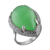 Кольцо Капля с зеленым агатом кабошон и фианитами из серебра 925 пробы