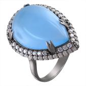 Кольцо с голубым агатом и фианитами из серебра