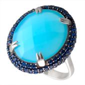 Кольцо с голубым агатом и синими фианитами из серебра
