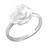 Кольцо Роза с перламутром и фианитом из серебра 925 пробы