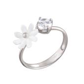 Кольцо Цветок с перламутром и фианитом из серебра 925 пробы