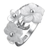 Кольцо Цветы с перламутром и фианитом из серебра 925 пробы