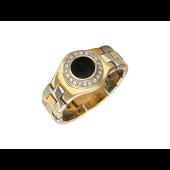 Кольцо мужское складное с круглым ониксом и фианитами, желтое и белое золото