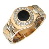 Кольцо мужское складное с круглым ониксом и фианитами, красное и белое золото 585 пробы