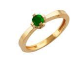 Кольцо, красное золото, 585 пробы, круглый изумруд
