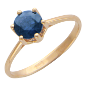 Кольцо с одним большим круглым изумрудом/сапфиром, красное золото