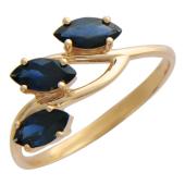 Кольцо с тремя сапфирами, красное золото