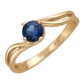 Кольцо с круглым рубином (сапфиром), красное золото