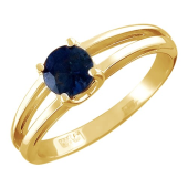 Кольцо с круглым изумрудом (рубином), красное золото