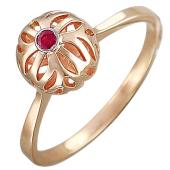 Кольцо Шар с рубином, красное золото