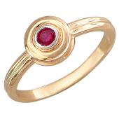 Кольцо с рубином в круге, красное золото