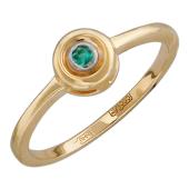 Кольцо с изумрудом в круге, красное золото