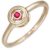 Кольцо с круглым рубином, красное золото 585 проба