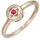 Кольцо с круглым рубином, красное золото