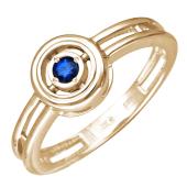 Кольцо с сапфиром в круге, красное золото