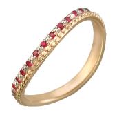 Кольцо Викс витое с 13 рубинами, красное золото