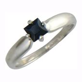 Кольцо с сапфиром Квадрат, белое золото