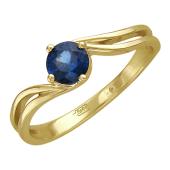 Кольцо с одним круглым изумрудом, желтое золото