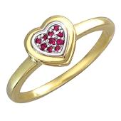 Кольцо Сердце с рубинами, желтое золото
