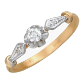Кольцо Роза с бриллиантами, красное золото