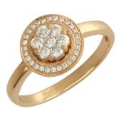 Кольцо Цветок в круге с бриллиантами, красное золото