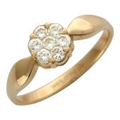 Кольцо Цветок с бриллиантами, красное золото