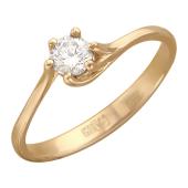 Кольцо Нежность с бриллиантом, красное золото