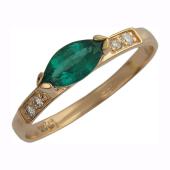 Кольцо с бриллиантами и изумрудом Маркиз, красное золото
