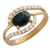 Кольцо с овальным изумрудом/сапфиром и бриллиантами, красное золото