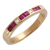Кольцо с рубинами (сапфирами) и бриллиантами Дорожка, красное золото