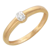 Кольцо с бриллиантом, красное золото