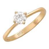 Кольцо Солитер с бриллиантом для помолвки, красное золото