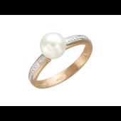 Кольцо с белым жемчугом и бриллиантами из красного золота 585 пробы
