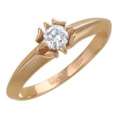 Кольцо с бриллиантом в лепестках золота, красное золото, 585 пробы