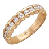 Кольцо Молния с бриллиантами, красное золото