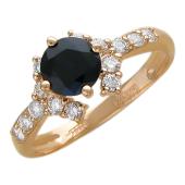 Кольцо Дорожка с бриллиантами и драгоценным камнем Круг, красное золото