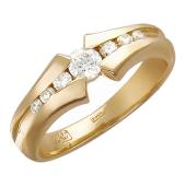 Кольцо Дорожка с бриллиантами, красное золото